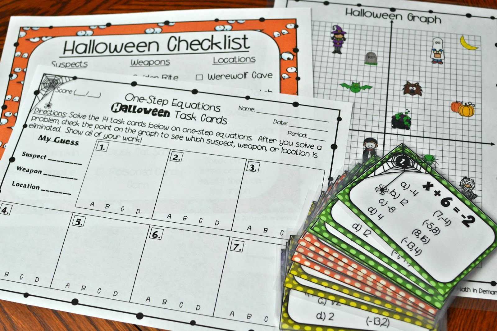 Two Step Equations Halloween Task Cards Mystery Activity