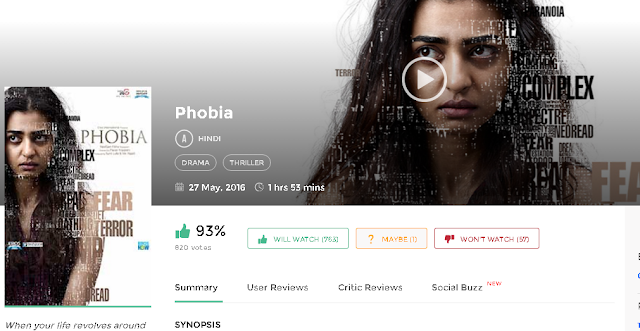 Phobia 2016 Full Hindi Movie in HD 720p avi mp4 3gp hq free