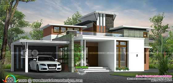 Box model contemporary house rendering