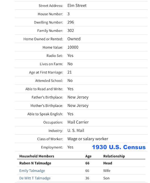 1930 US census Talmage family Ruben Talmage Emily Talmage DeWitt T Talmage