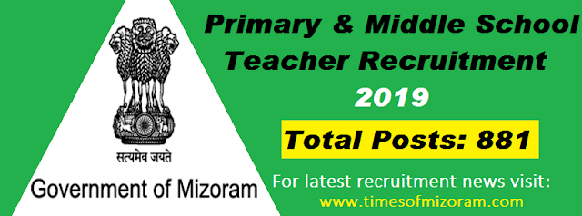Mizoram Education Recruitment 2019
