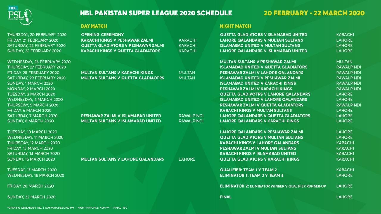 Pakistan Super League (#PSL5) Schedule