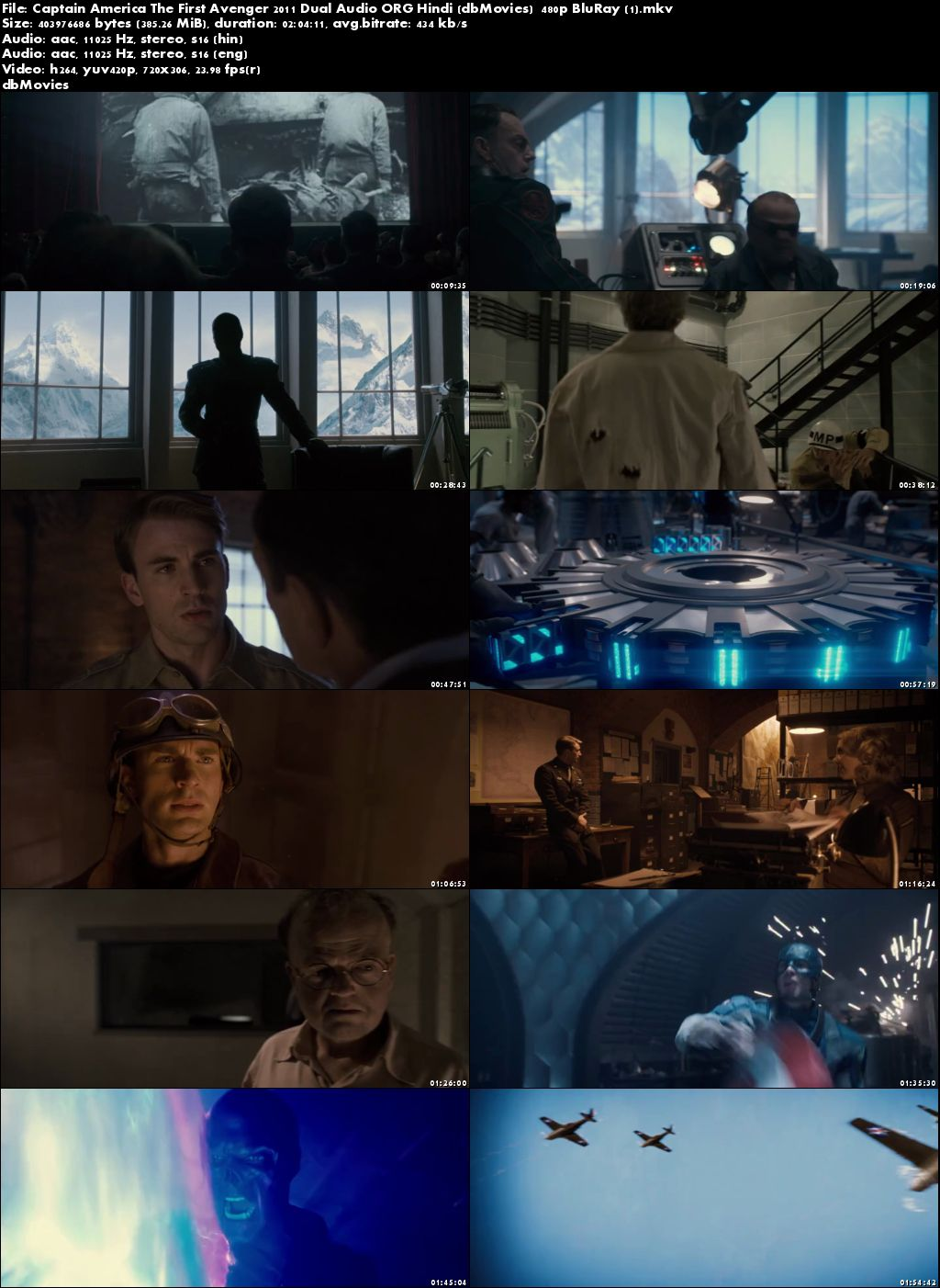 Poster Captain America: The First Avenger 2011 Movie Dual Audio Free Download 300Mb