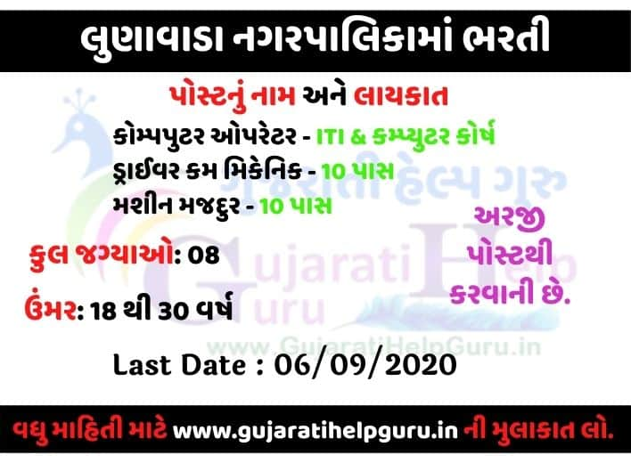 Lunawada Nagarpalika Recruitment 2020