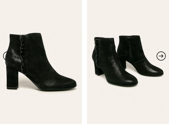 Reducere cizme femei de piele naturala de iarna cu toc gros negre