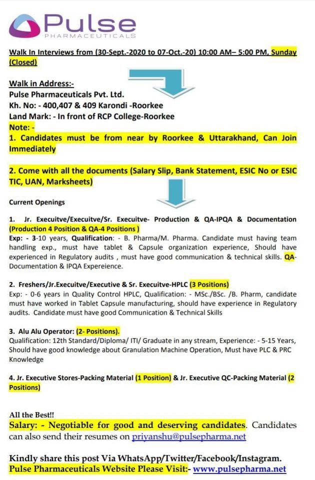 Pulse Pharmaceuticals Pvt.Ltd. Walk in Drive- Production/QC/ QA/Packing from 30th Sept -7th Oct 2020 @ Roorkee