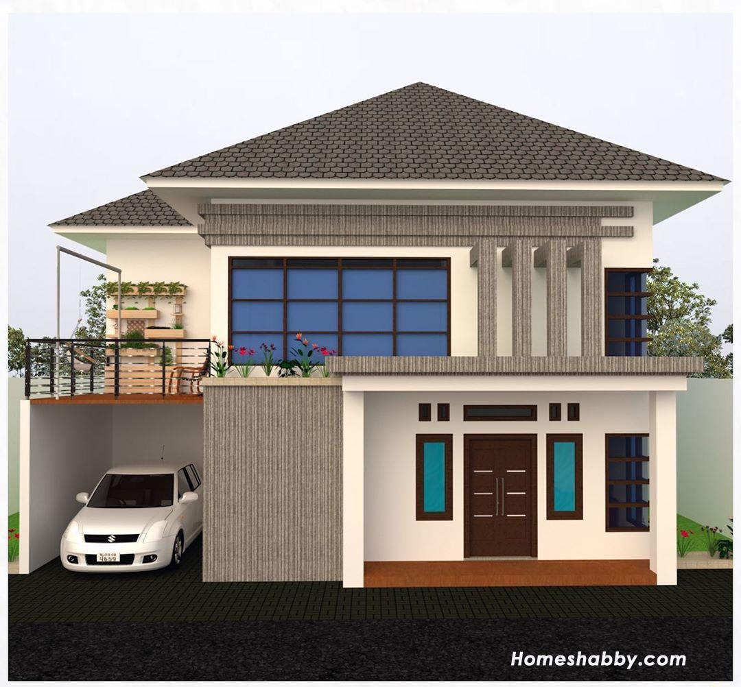 Desain Dan Denah Rumah 2 Lantai Ukuran 10 X 11 M Lengkap Dengan Balkon Cantik Cocok Untuk Keluarga Besar Homeshabby Com Design Home Plans Home Decorating And Interior Design