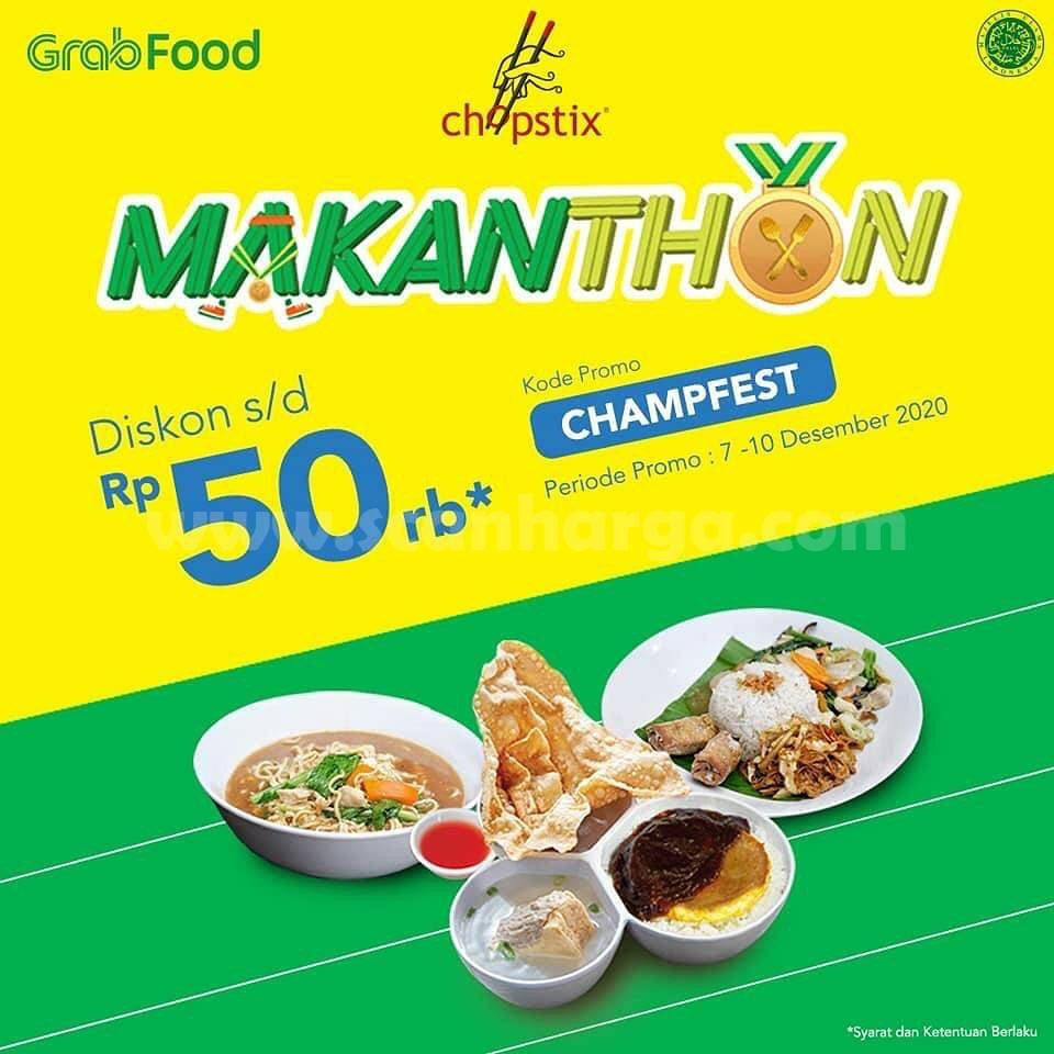 Promo Chopstix Makanthon - Diskon hingga Rp 50.000 via Grabfood