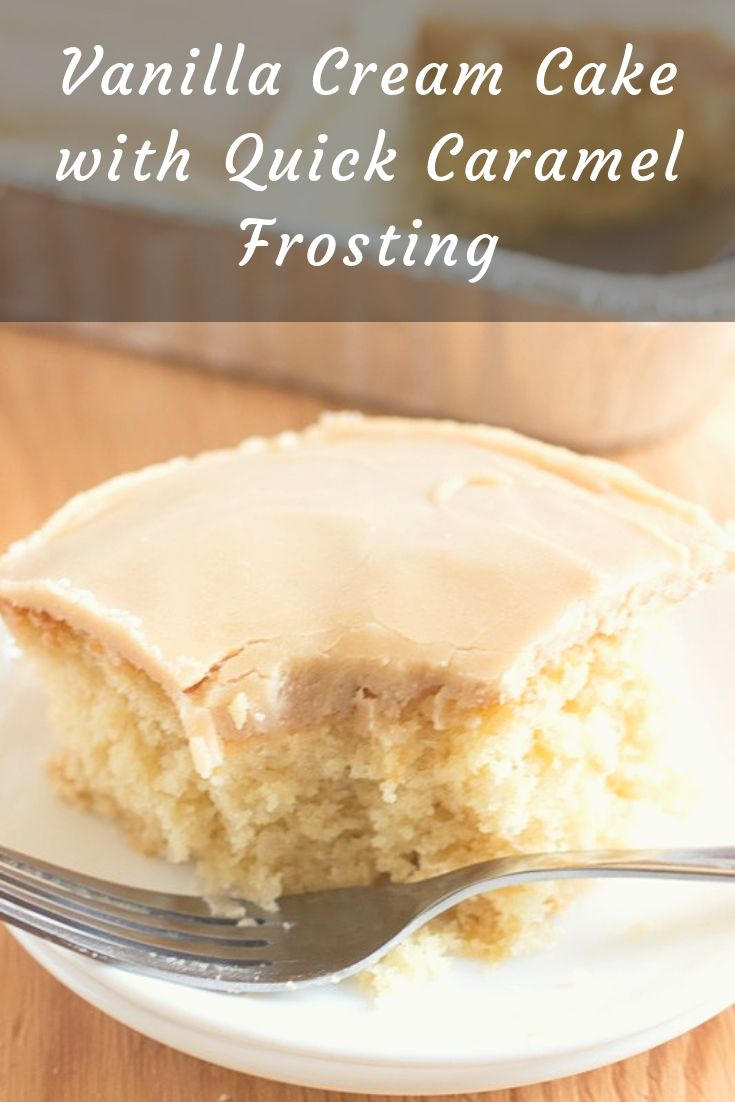 This Vanilla Cream cake with Quick Caramel Frosting is delicious. Adapted from a little-old-lady recipe, it has the lovely old-fashioned-cake flavor.