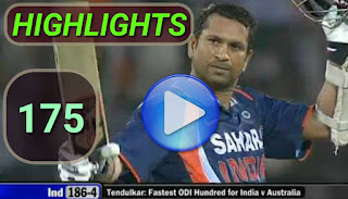 Sachin Tendulkar 175 - India vs Australia 5th ODI 2009 Highlights