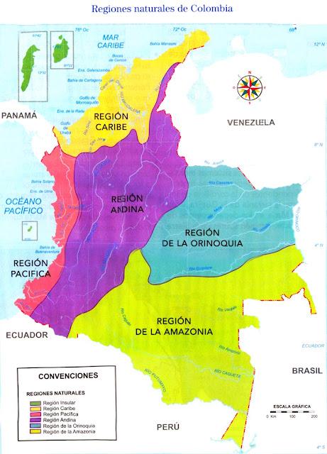MAPA DE LAS REGIONES NATURALES DE COLOMBIA