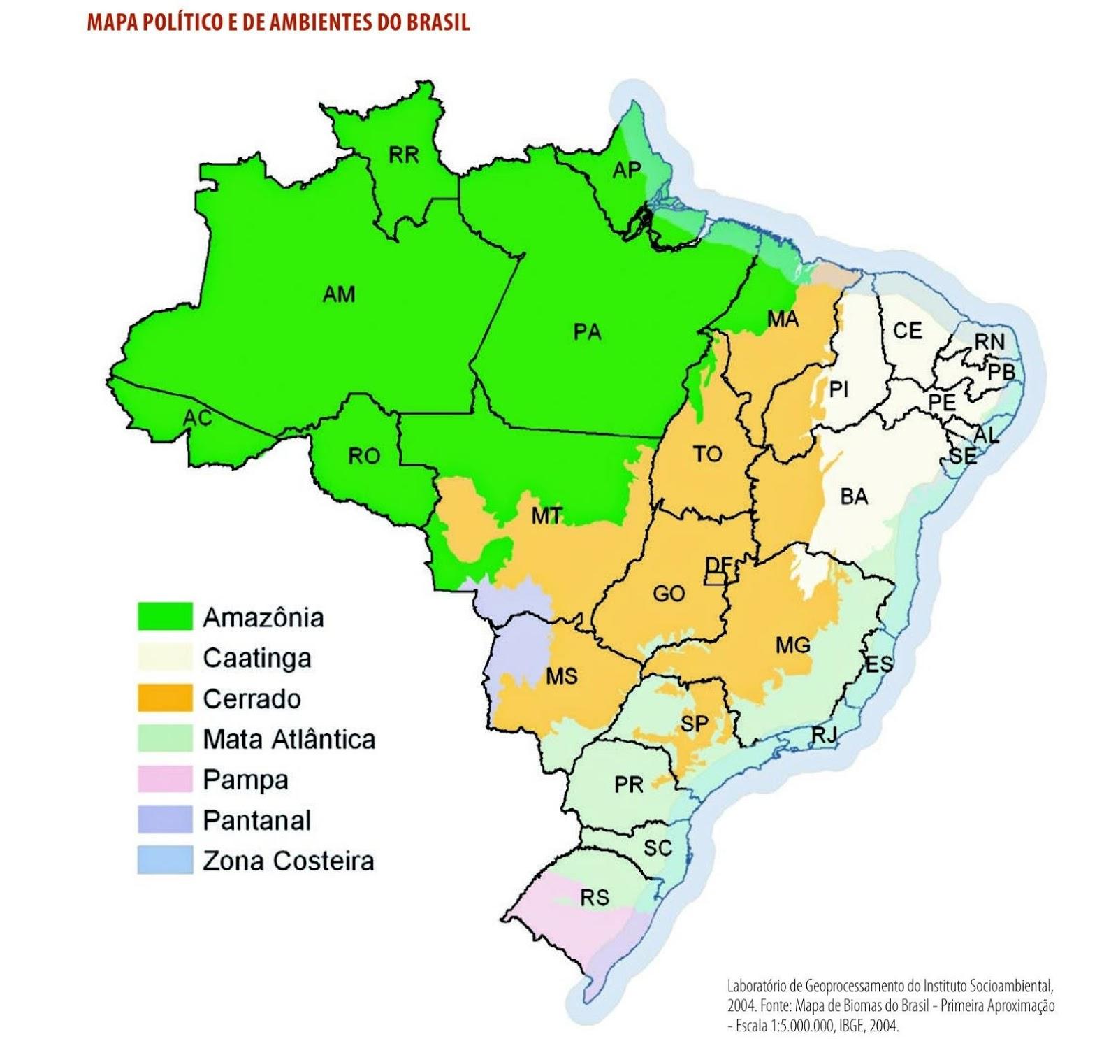 Mapa Político e de Ambientes do Brasil