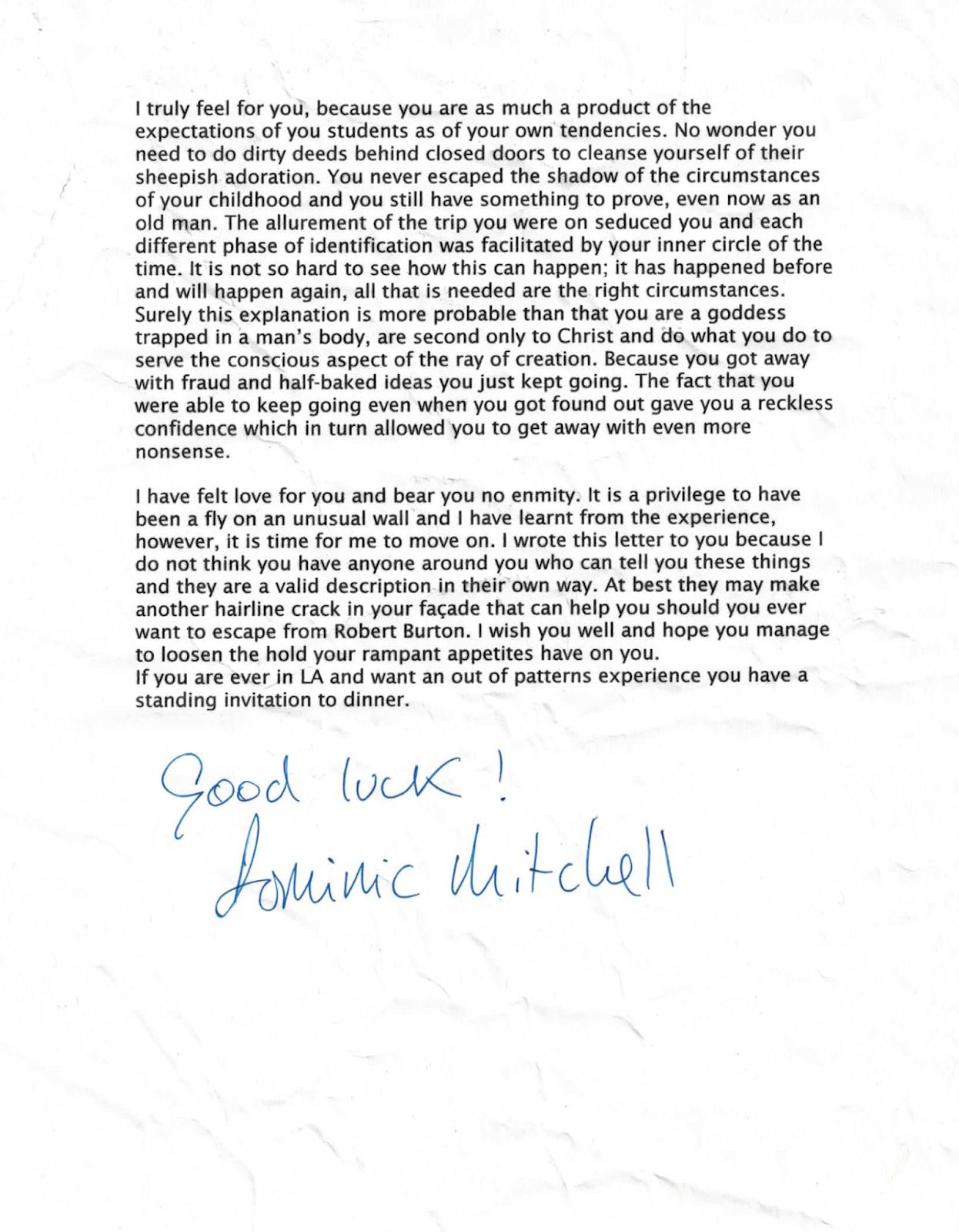 Departure letter from Robert Earl Burton's Fellowship of Friends cult