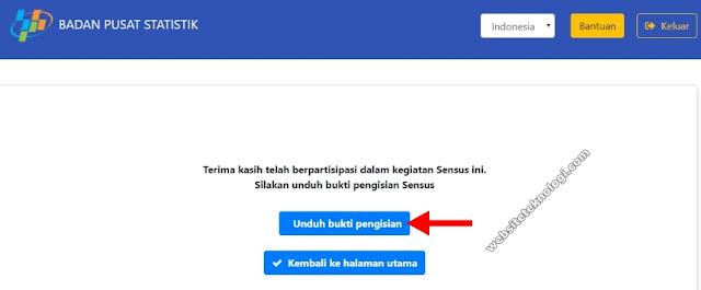 Download bukti pengisian sensus penduduk 2020 online