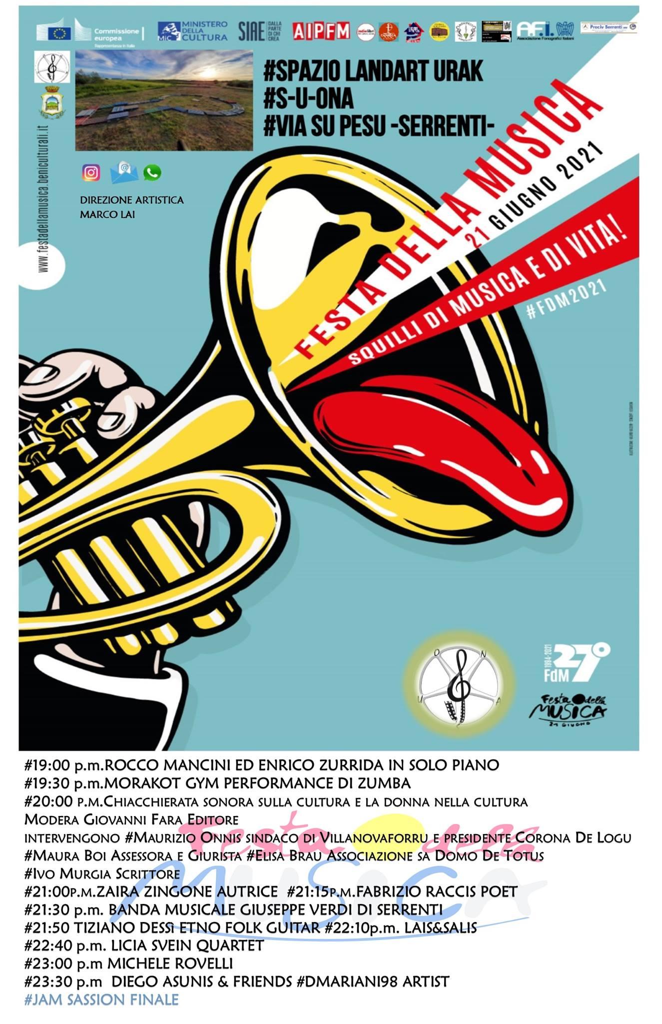 Serrenti: La Festa della Musica 2021. Fuori il  programma
