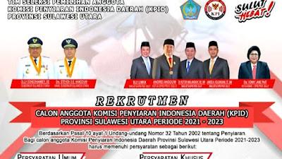 Rekrutmen Calon Anggota KPID Sulut Dibuka 19 Agustus sampai 19 September 2020