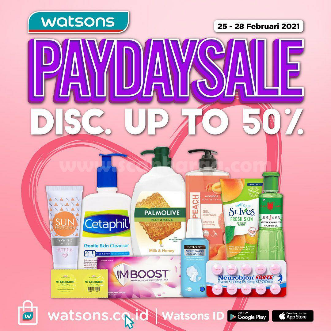 WATSONS Promo PAYDAY SALE Discount Up to 50%