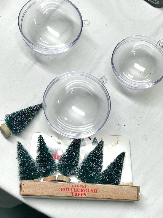 Easy Bottle Brush Snow Globe Ornament supplies. Homeroad.net