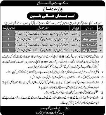 Job Vacancies In Ministry of Defence Karachi