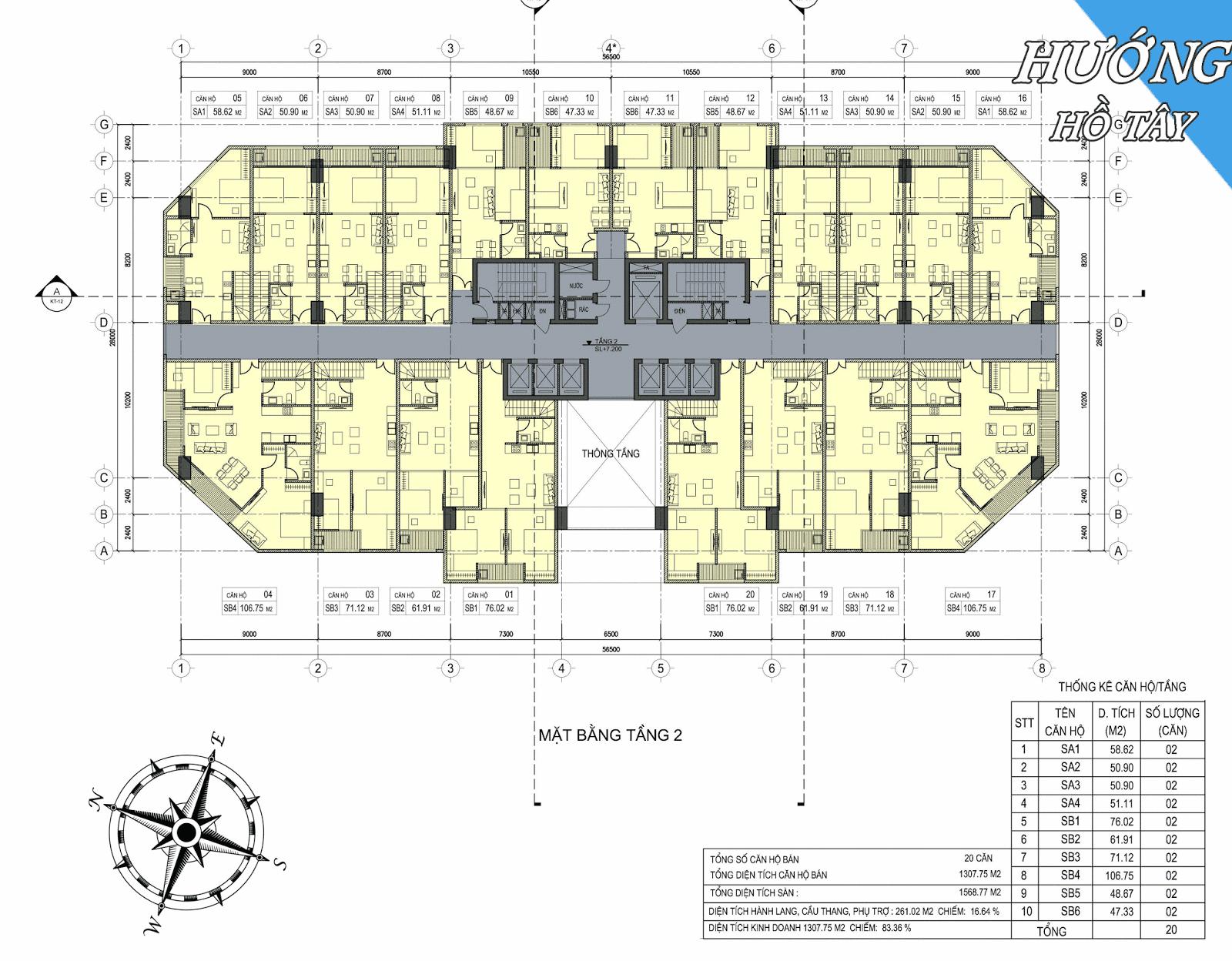 Mặt bằng tầng 2 dự án D'eldorado Phú Thanh.