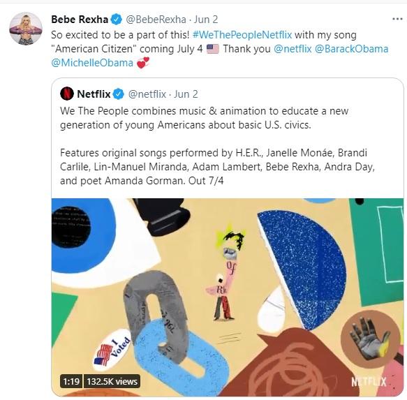 Bebe Rexha su Netflix, parte del film di Barack Obama