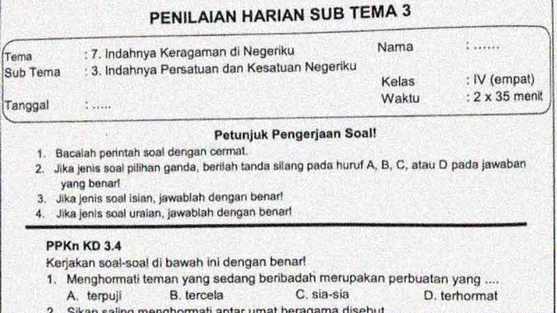 Soal Penilaian Harian Kelas 4 Tema 7 Subtema 3