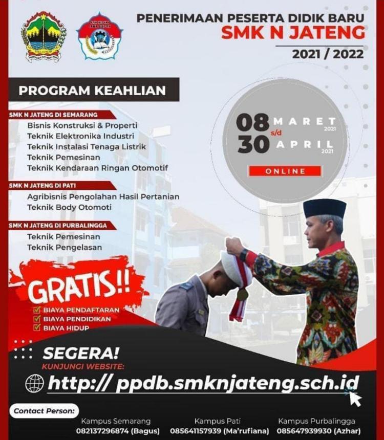 SMK Negeri Jateng Sediakan 264 Kursi untuk Siswa Tidak Mampu