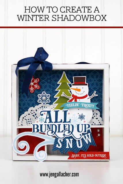 How to Create a Winter Shadowbox with Jen Gallacher from www.jengallacher.com. #wintercraft #shadowbox #snowman (Supply list included.)