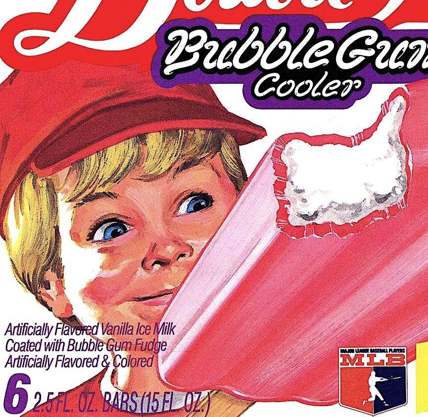 a 1986 BubbleGum Cooler advertisement, ice cream on a stick