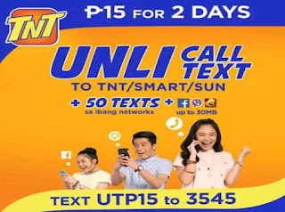 TNT UTP15 : Unli Call and Text to TNT/Smart/Sun, 50 All-Net Texts + 30MB Facebook, Twitter, Viber, Clash of Clans, Dubsmash