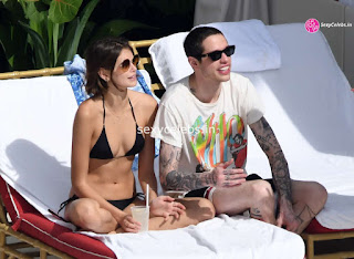 Kaia Gerber in tiny wet black bikini tongue kissing Pete Davidson in Miami Beach Pool Celebs.in Exclusive 007