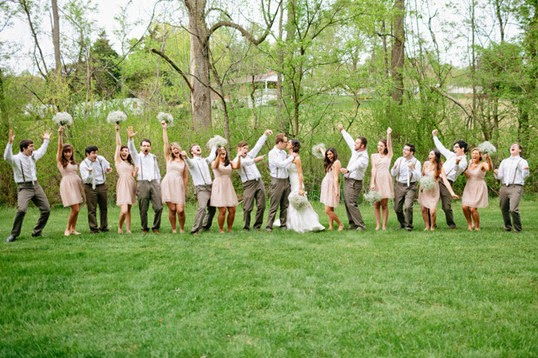 rustic outdoor wedding photo ideas bridesmaids pose flowers 2015