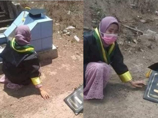 Jual Kardus Bekas Demi Kuliah, Gadis Yatim Piatu Bersimpuh di Makam Orangtua usai Wisuda