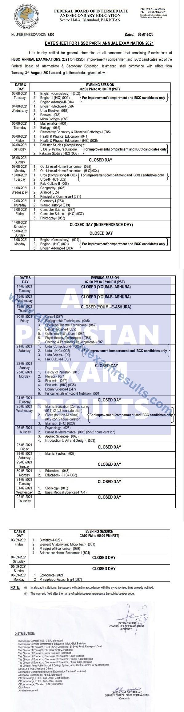 Date Sheet Federal Board Class 11 2021 Annual Exam