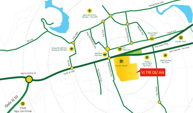 Vị trí dự án Uông Bí New City - Yên Thanh - Quảng Ninh