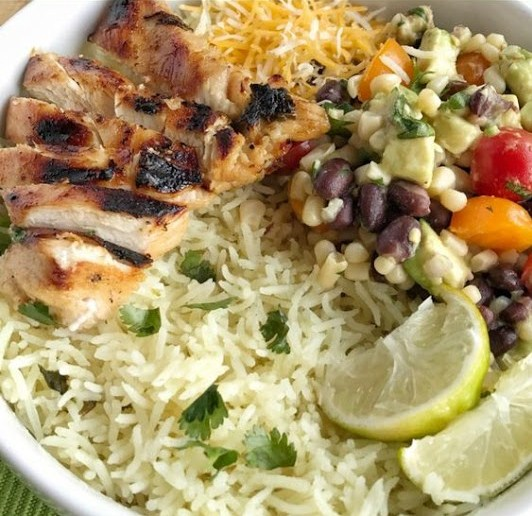 Honey & Cilantro Lime Grilled Chicken Rice Bowls