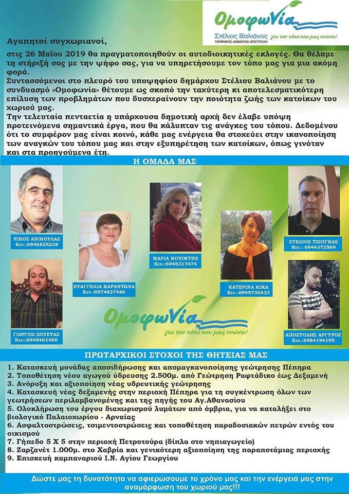 Οι Υποψήφιοι Σύμβουλοι κοινότητας Νεοχωρίου και ο προγραμματισμός Δράσεων
