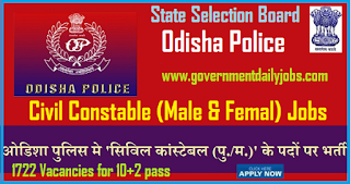 Odisha Police Recruitment 2018 latest 1722 Vacancies for Civil Constables