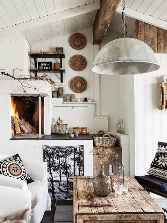 chimenea vintage, rustica
