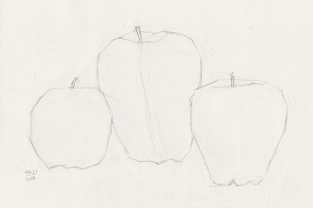 Daily Art 01-27-18 block-in practice of three apples