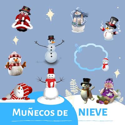 71 muñecos de nieve, con fondo transparente para usar en fotomontajes navideños.