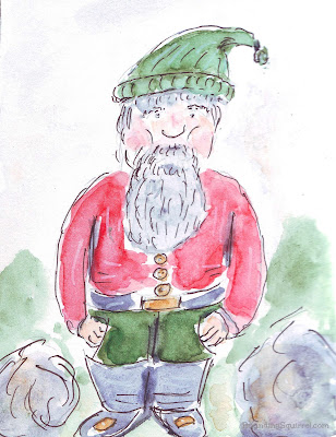 Pen and wash sketch of a gnome, with green hat and trousers and a red jacket.