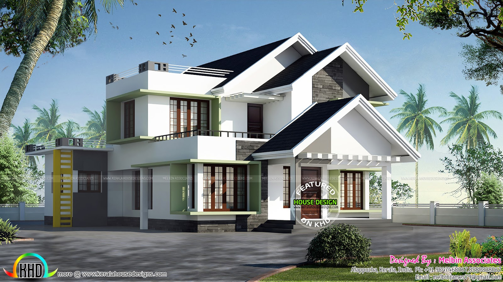Modern House With 2 Color Variants Kerala Home Design And Floor Plans