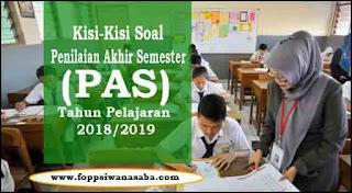 Download Kisi-Kisi Penilaian Akhir Semester (PAS) Tahun Pelajaran 2018/2019