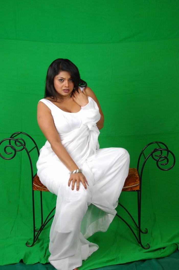 Swati Varma Sexy See Through White Saree And Blouse -6256