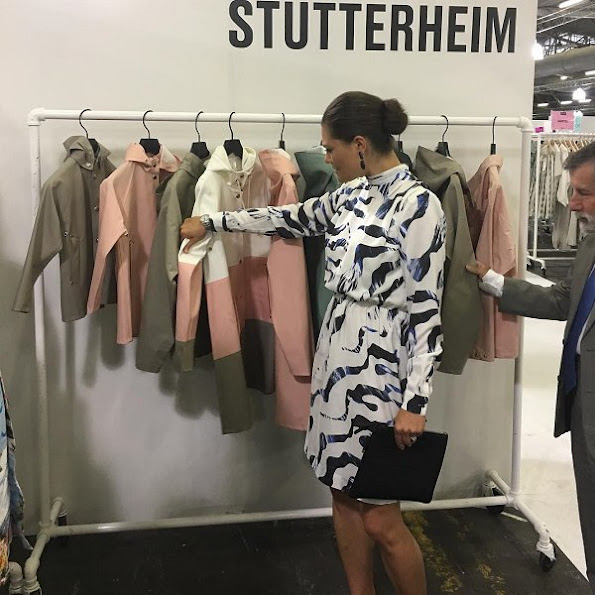 "Sweden's Crown Princess visited the ""CapsuleShow"" fashion trade show this morning and met with Swedish brands. swedish fashion, stutterheim"