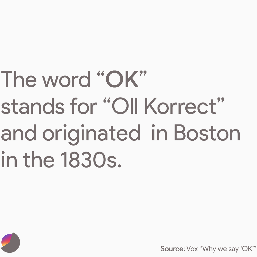 "The word ""okay"" originated in Boston in the 1830s when it was popular to abbreviate phrases using the first letters of each word, such as ""KC"" for ""knuff ced"" (enough said) and ""OW"" for ""oll wright"" (all right). Only one survived: ""OK"" for ""oll korrect."" (Martin Van Buren used the phrase in his 1840 campaign.)"