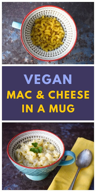 Vegan Microwave Mug Macaroni Cheese - a quick lunch or light dinner for one made in a microwave. Easy to make in work staff room or for students to make in student halls. #microwavepasta #microwavemeals #mugmeals #mugrecipes #mugmacandcheese #microwavemacandcheese #veganmachandcheesse #veganmacaroni #veganpasta