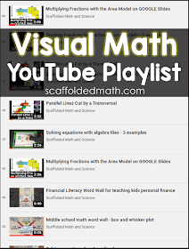 Over the last few months I've been building a visual math playlist on my YouTube channel with videos on multiplying and dividing fractions, working with integers, solving equations and more. All of my math videos can be found on my YouTube channel. I've been adding videos to go along with my free math cheat sheets (mainly for algebra and algebra 2), videos on ways to make math visual and some tech tips. I really enjoy making and editing videos, so more to come soon.
