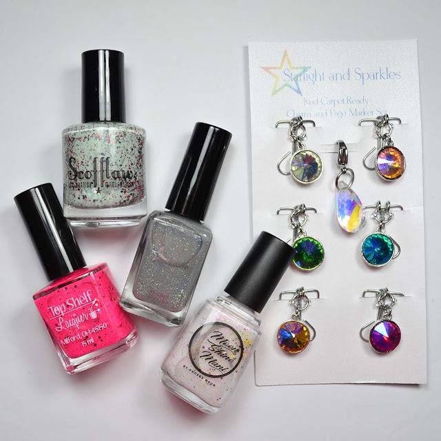 nail polish bottles flat lay with color shifting page marker set